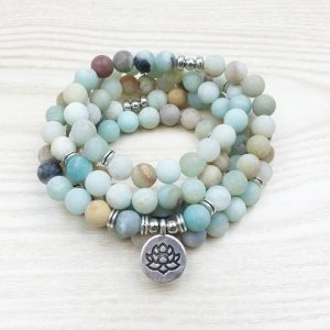 8 mm Amazonite Mala Beads Bracelet or Necklace Lotus charm